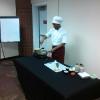 Chef Ro during cooking demonstration.